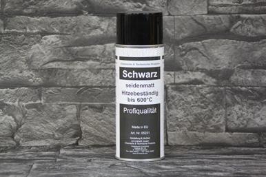 Auspufflack Schwarz seidenmatt, hitzebeständig 600°C, Sprühdose mit 400 ml Inhalt