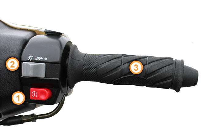 Gasgriff des Energy Motorrollers von Nova Motors
