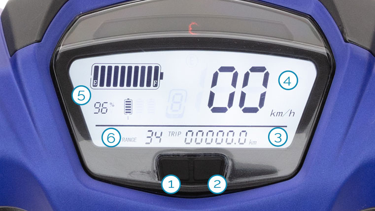 Cockpit/Tacho des eGT5 Elektroroller von Nova Motors