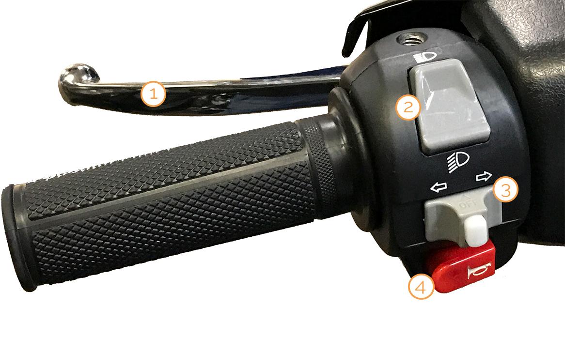 Linker Griff mit Armaturen des City Star Motorrollers