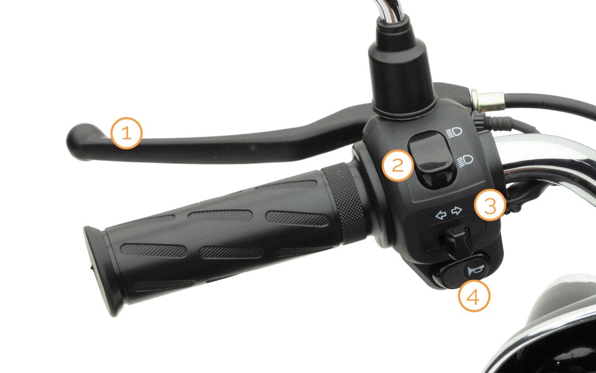 Linker Griff mit Armaturen des eRetro Star Elektro-Motorrollers