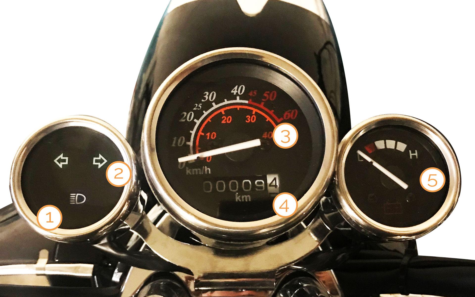 Tacho des eRetro Star Elektro-Motorrollers