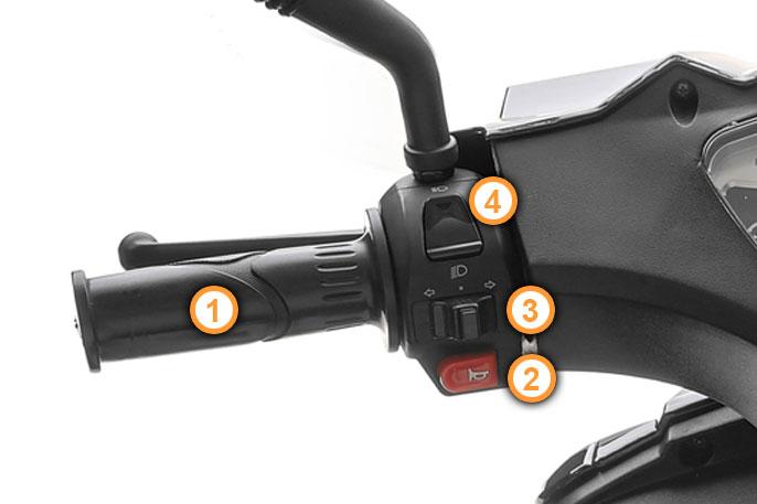 Linke Lenkerarmaturen des GT4 Motorrollers von Nova Motors