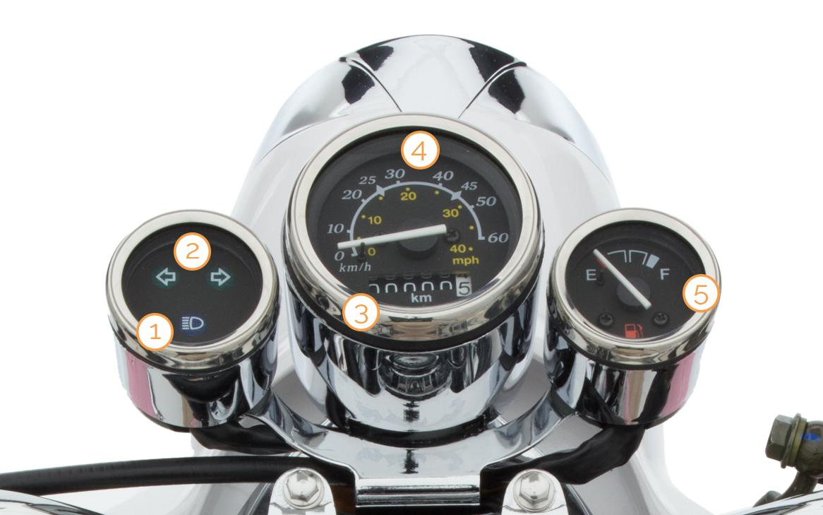 Cockpit/Tacho des Retro Star Motorrollers von Nova Motors