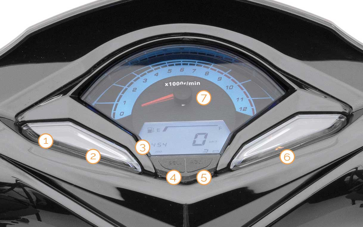 Tacho des Nova Motors SP125i Motorrollers