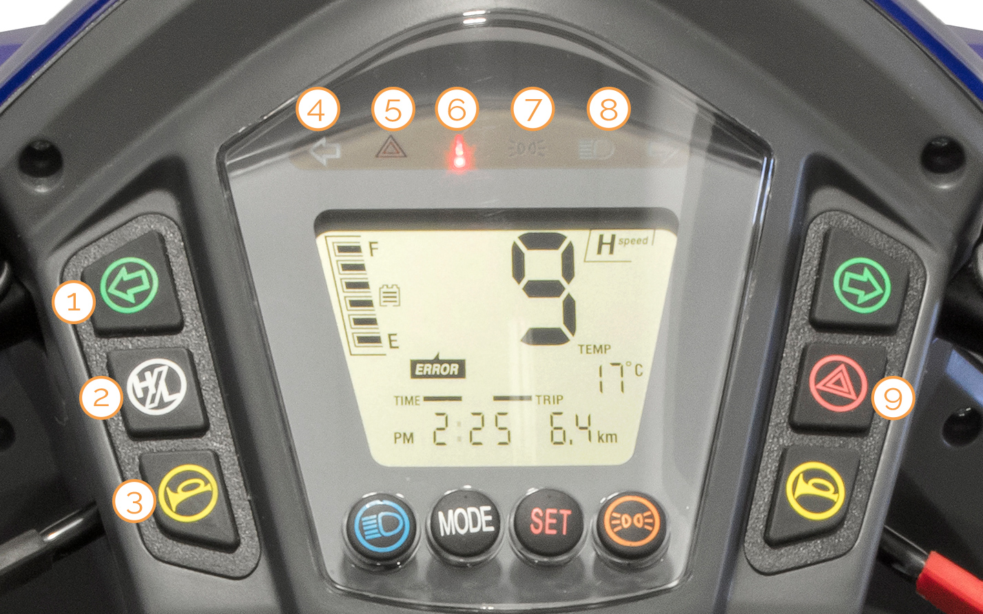 Schalter am digitalen Tacho des Nova Motors Vita erklärt