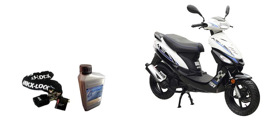 Energy Motorroller weiß-blau mit Gratisartikeln