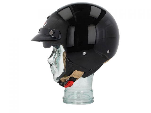 Helm Shiro SH-203 Vintage schwarz glänzend Halbschalenhelm
