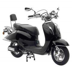 Retro Motorroller Retro Cruiser 49ccm Chromlenker Rückenlehne in schwarz