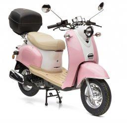 retro star ie 50 touring in rosa wei der retro motorroller von nova motors mit euro 4. Black Bedroom Furniture Sets. Home Design Ideas