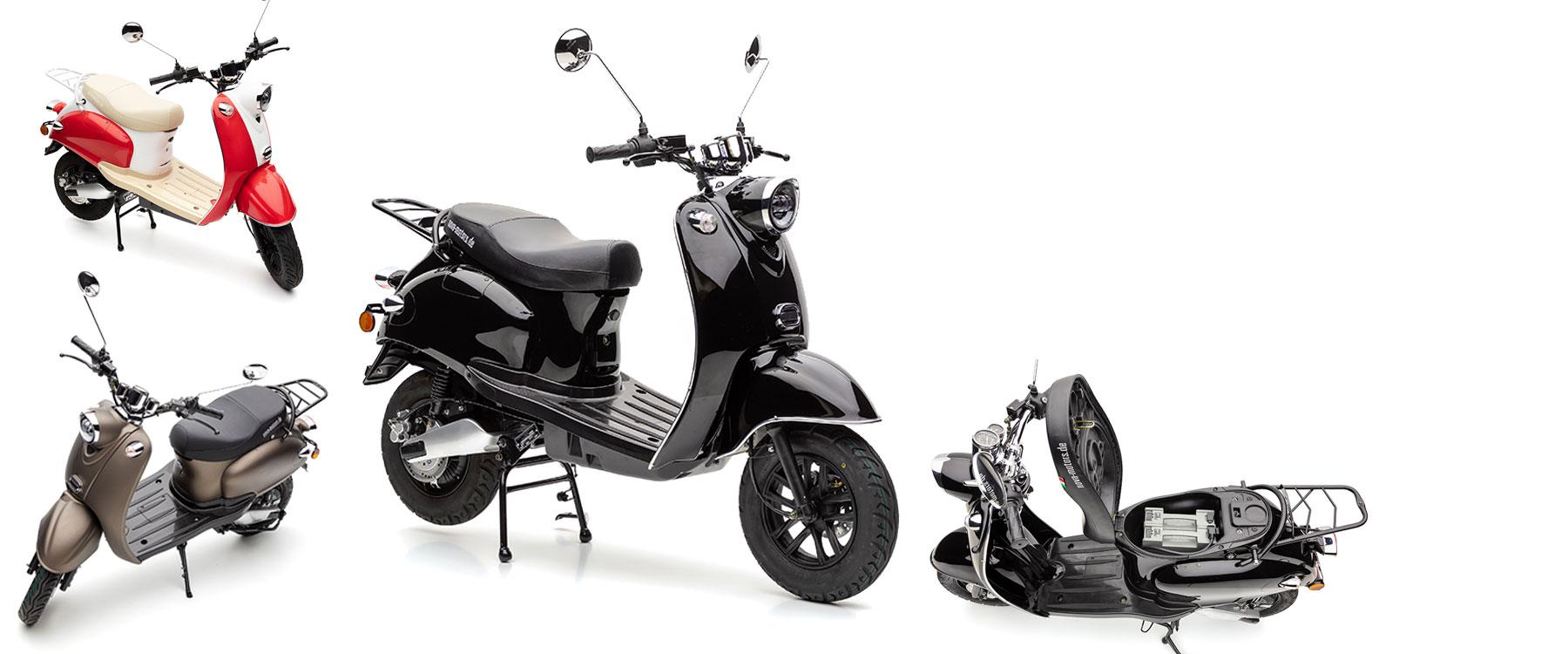 Endlich auch als Version mit tragbarem Doppelakkusystem, der Nova Motors eRetro Star li Elektromotorroller