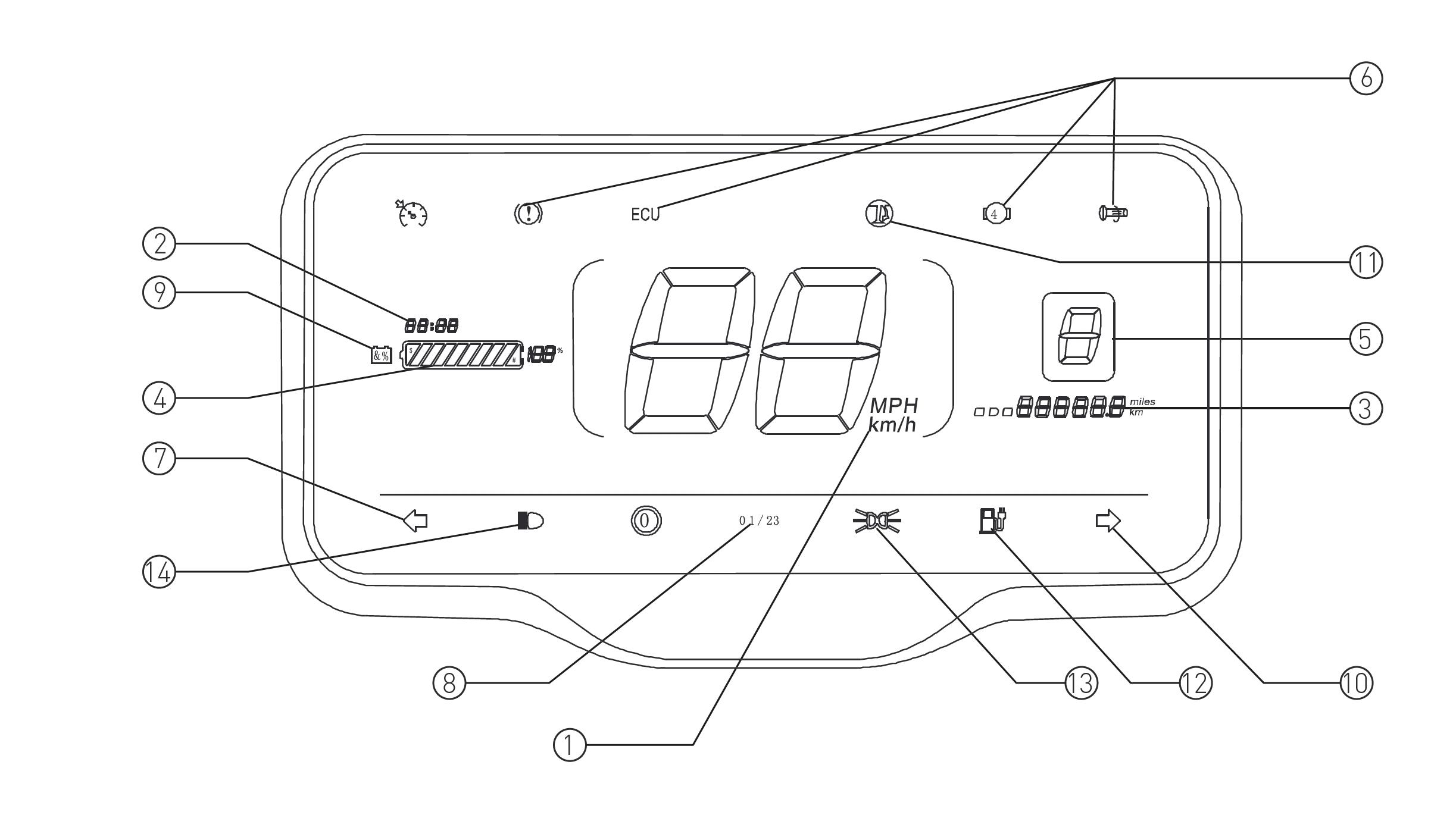 Tacho des Nova Motors S4 Elektro-Motorrollers
