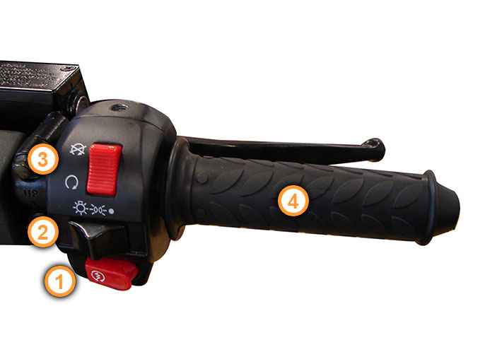 GT3 Gasgriff und Killschalter am Nova Motors Motorroller