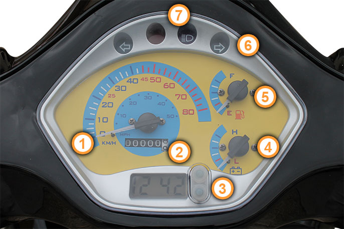 Cockpit des Retro Motorroller