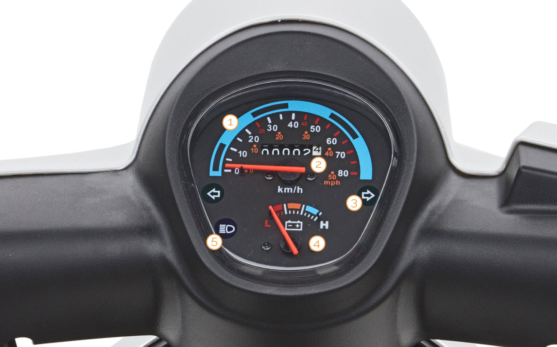 Tacho des Bendi Dreirad-Motorrollers