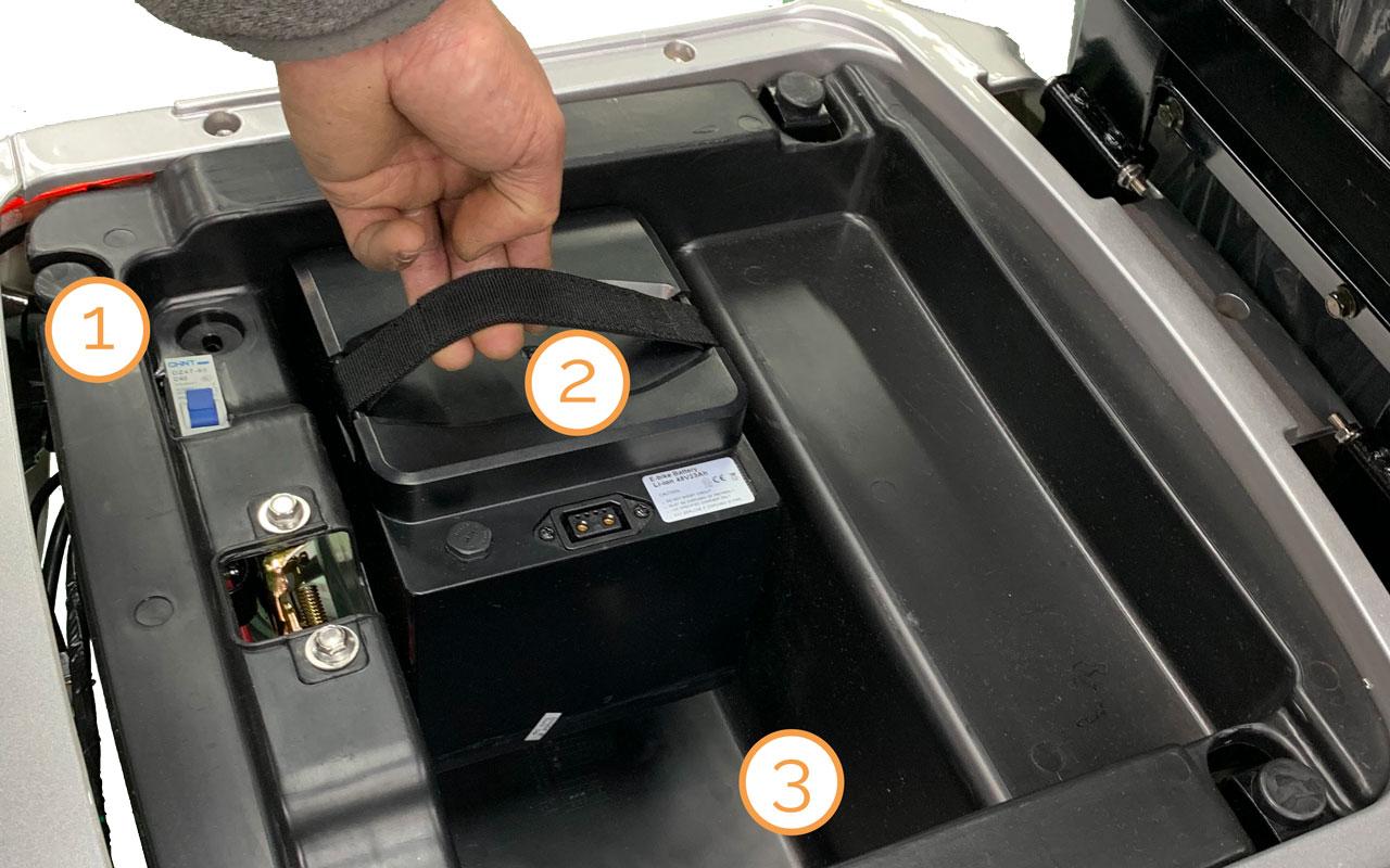 Platz der Lithium-Ionen-Akkupacks im Kofferraum des Nova Motors Bendi Premium