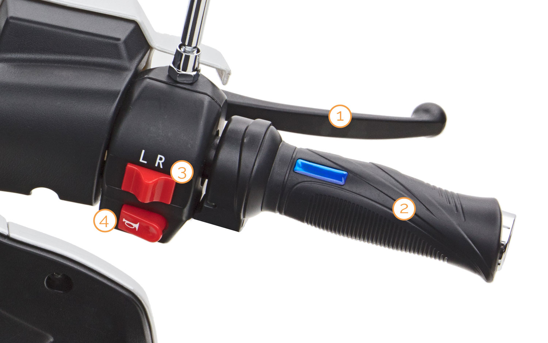 Gasgriff des Bendi Dreirad Motorrollers