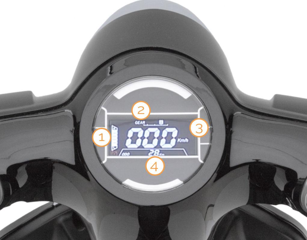 Tacho des eEve Elektro-Motorrollers
