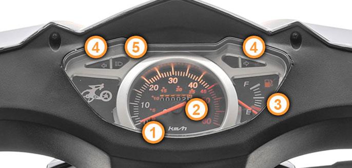 Cockpit des GT4 Motorroller von Nova Motors