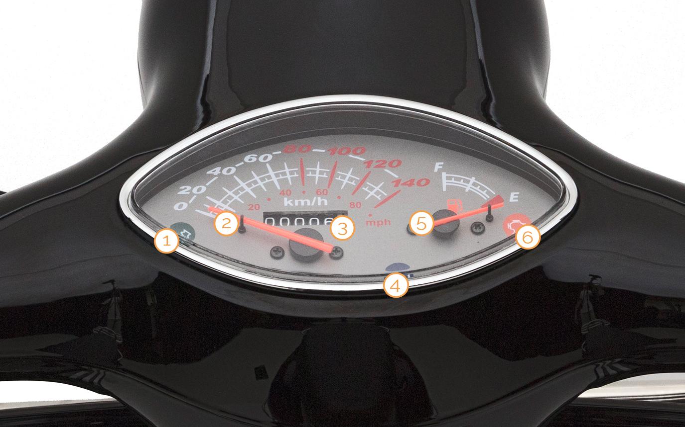 Tacho des Nova Motors Retro 69 Motorrollers