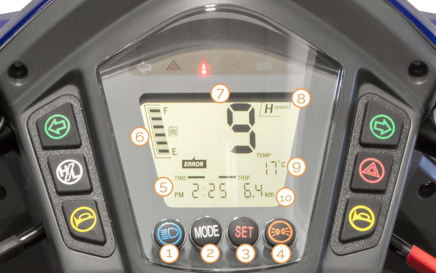 Digitaler Tacho des Nova Motors Vita erklärt