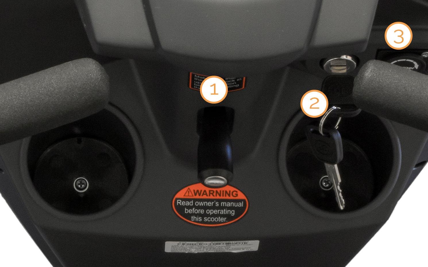 Zündschlüssel, Lenkereinstellung und Ladebuchse des Nova Motors Vita erklärt